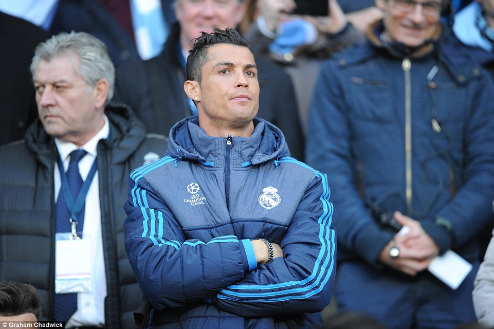 Cristiano Ronaldo was forced to watch from the stands at the Etihad Stadium after failing a late fitness test