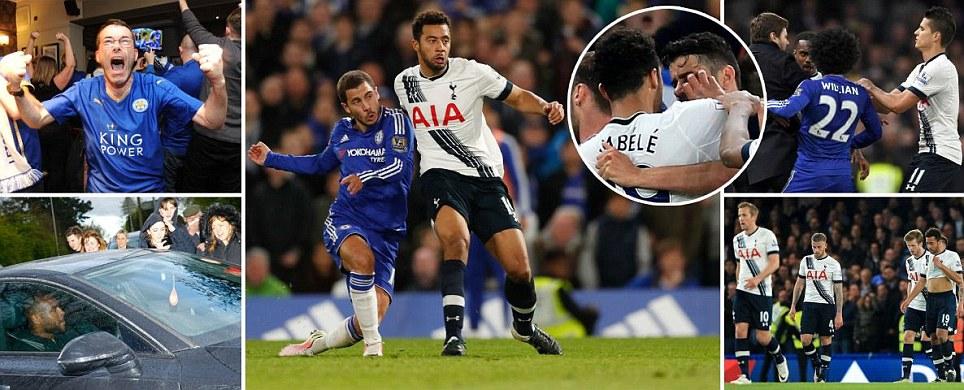 Chelsea 2-2 Tottenham Eden Hazard seals Premier League glory for Leicester City and ends Spurs title dream as Belgians wonder strike secures draw in vicious London derby