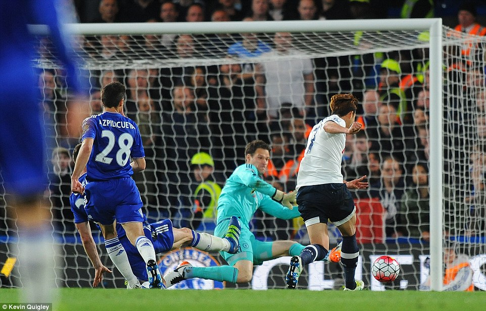 The South Korean forward rifles the ball past Chelsea keeper Asmir Begovic after picking up a superb pass from Christian Eriksen