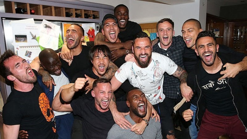 Leicester City players celebrating at Jamie Vardys party