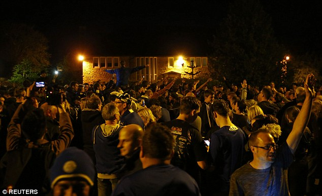 Hundreds of Leicester fans were outside the Leicester players party at Vardys home in Melton Mowbray