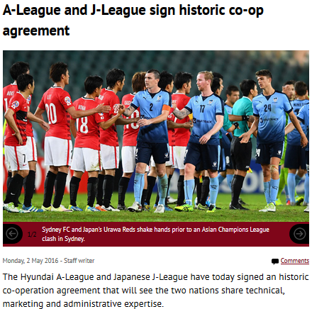 A-League and J-League sign historic co-op agreement
