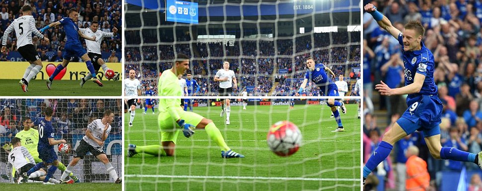 Vardy hits double but misses penalty as Leicester crush Everton before newly-crowned champions lift the Premier League trophy