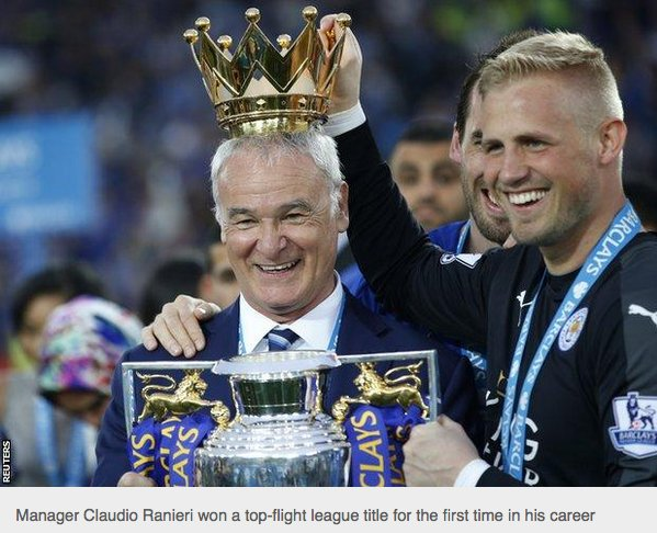 Morgan and Ranieri lift Premier League trophy after Leicesters victory over Everton as Foxes celebrate historic 5,000-1 triumph
