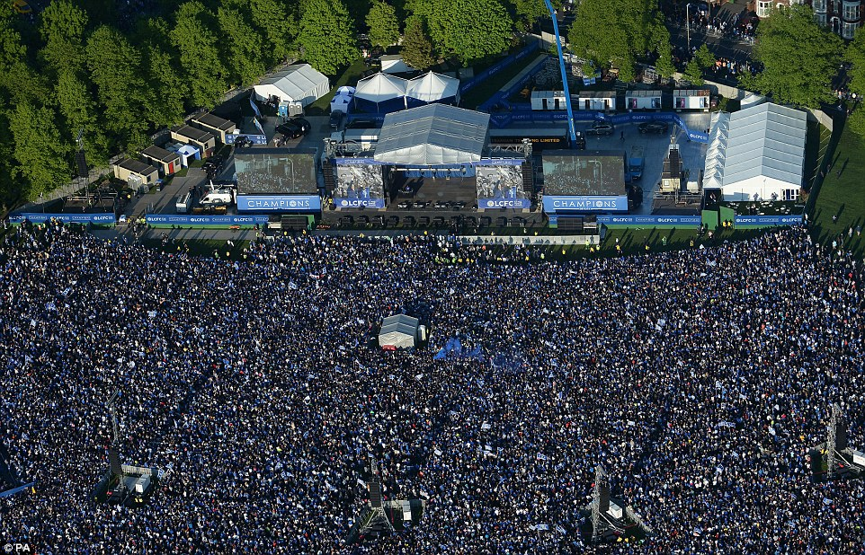 The sheer number of fans inside Victoria Park was apparent from the skies, where the scene was similar to something from Glastonbury