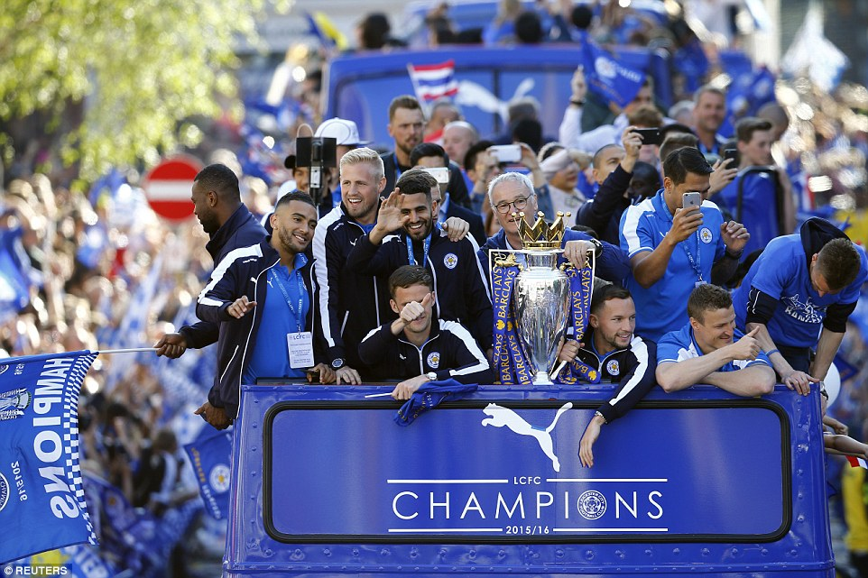 Many of the Leicester players were on their phones filming the incredible scenes around the city, as they paraded the league trophy