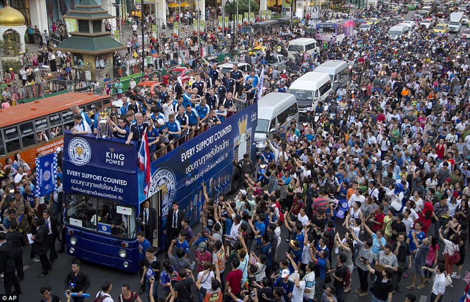 Thousands of locals came to see the Premier League champions as they thanked them for their overseas support