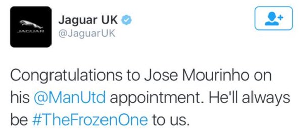 jaguar (mourinho sponsor) confirmed his appointment to #mufc