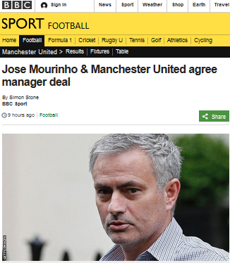 Jose Mourinho Manchester United agree manager deal