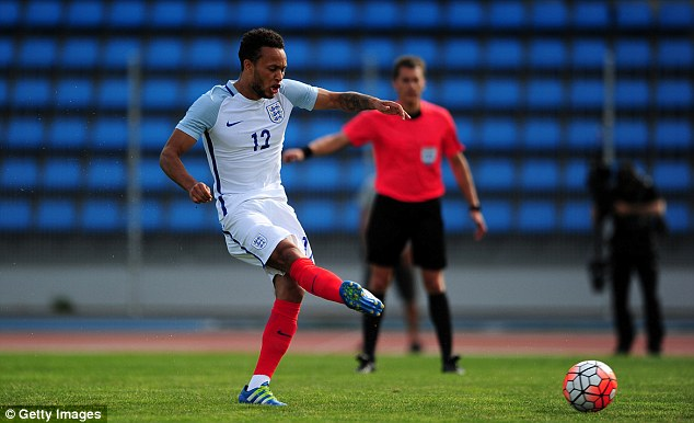 England Under 21s midfielder Lewis Baker scores from the penalty spot against Japan Under 23s