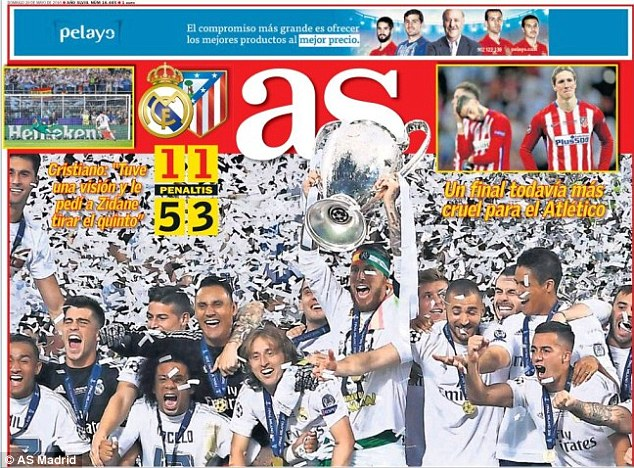 AS hailed Reals historic 11th triumph with an impressive wraparound cover of Ramos lifting the cup