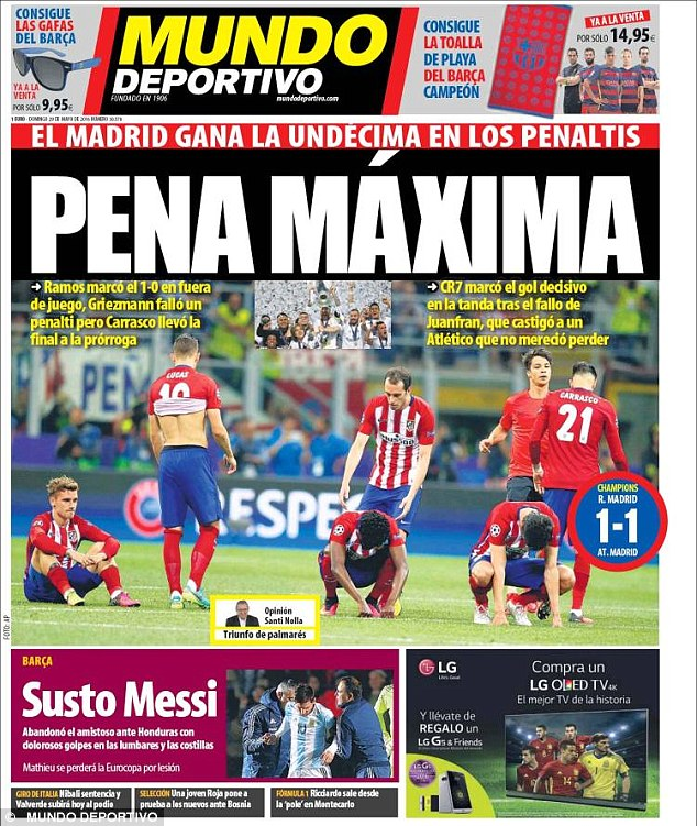 Over in Barcelona, the sports papers chose instead to focus on Atletico Madrids dejection