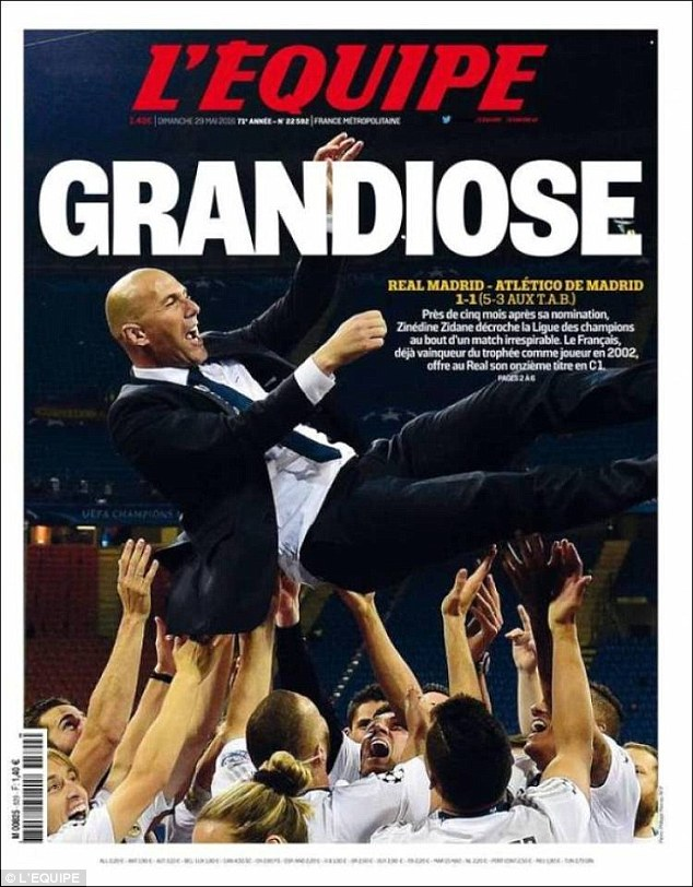 Reals win was also celebrated in France as Zinedine Zidane made history as Real Madrid coach