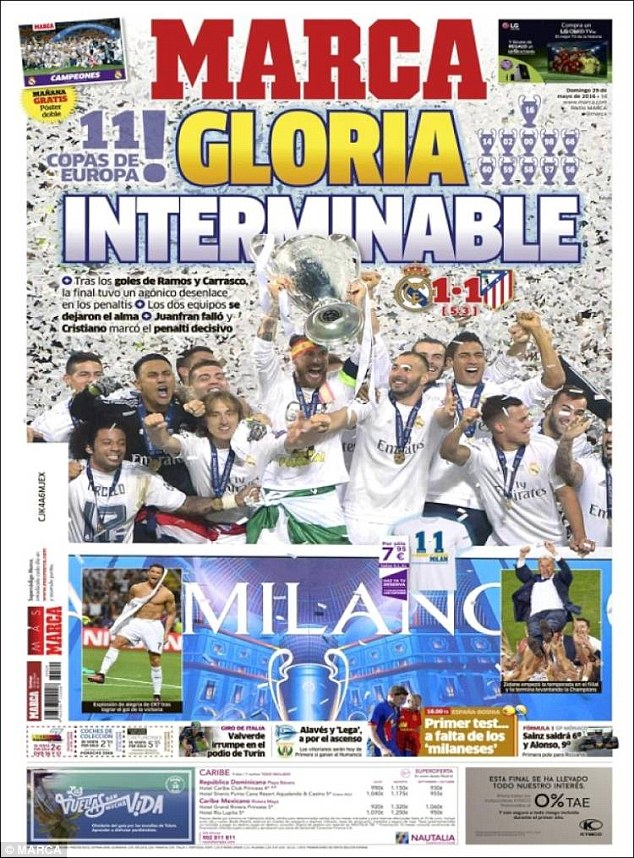 The front page of Marca depicted Real Madrids Champions League celebrations on Saturday night