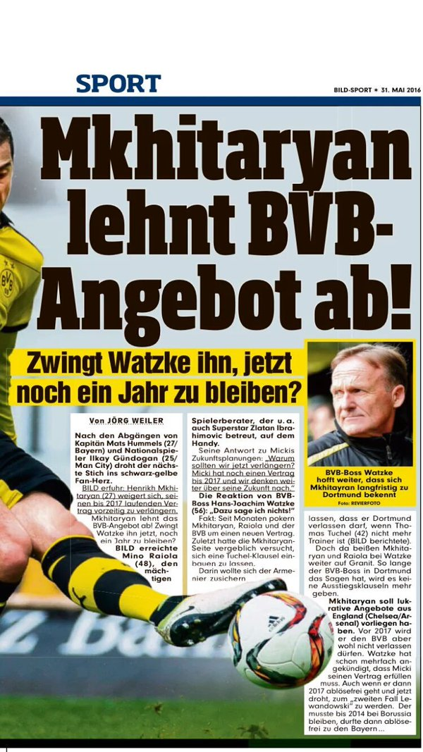 According to Bild Mkhitaryan wont extend his contract