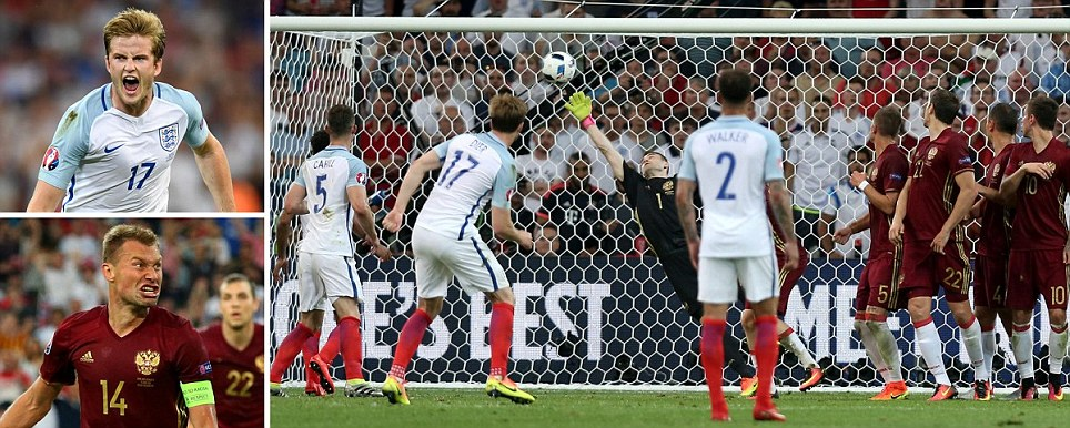 Heartache for England as Russia grab 92nd-minute equaliser to cancel out Diers stunning free-kick in Euro 2016 opener