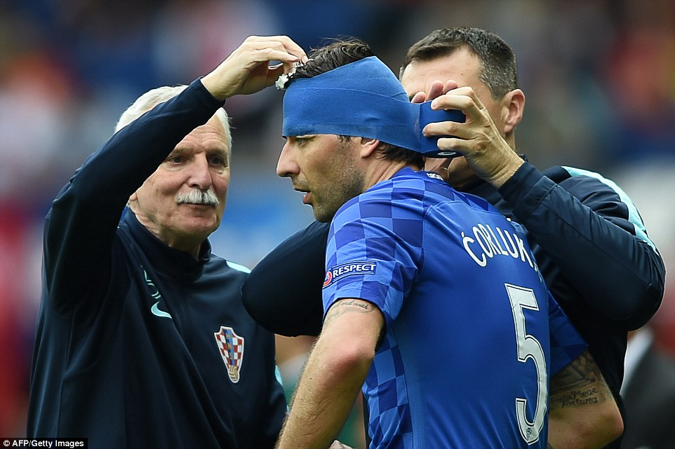 he 30-year-old Corluka needed further treatment during the second half against Turkey when the wound reopened