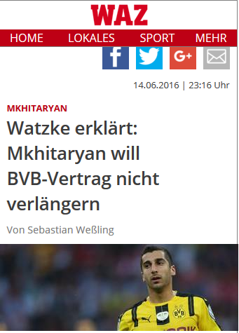Watzke erklärt Mkhitaryan will BVB-Vertrag nicht verlängern