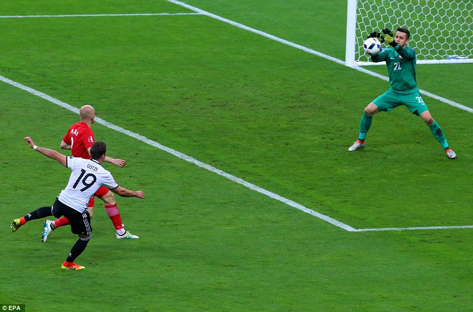 Germany immediately went down the other end and Gotze forced a save from Swansea goalkeeper Fabianski from inside the box