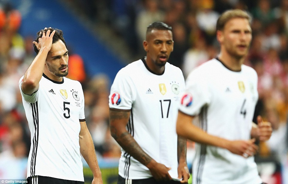 Mats Hummels, Boateng and Howedes look dejected during Germanys goalless draw with Poland on Thursday