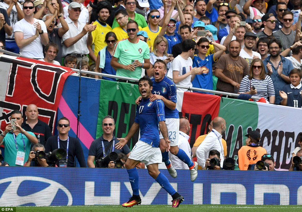 Sampdorias delighted hitman Eder (No 17) is congratulated by Italy team-mate Emanuele Giaccherini (No 23) by the corner flag