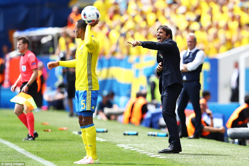 Italy manager Antonio Conte (centre) issues instructions to his players as Norwich Citys Martin Olsson prepares to take a throw