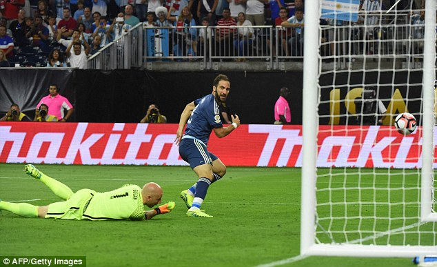 second half did get underway it wasnt long before Gonzalo Higuain added a third for Argentina