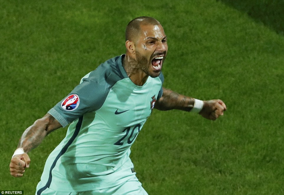Quaresma celebrates scoring a dramatic late goal in extra time to send his side into the Euro 2016 quarter-finals