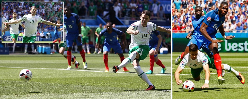 Brady fires Ireland in front against France from the penalty spot inside THREE minutes after Pogba tripped Long