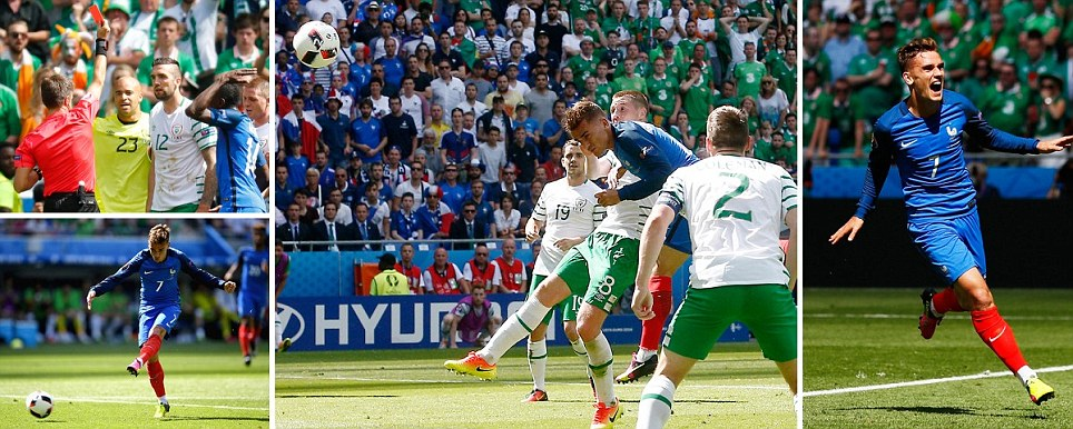 Griezmann scores twice in three minutes before Duffy is sent off as Irelands challenge crumbles despite taking the lead against France