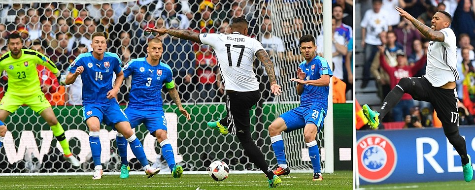World champions Germany in front after eight minutes thanks to Boatengs effort but then Ozil misses penalty