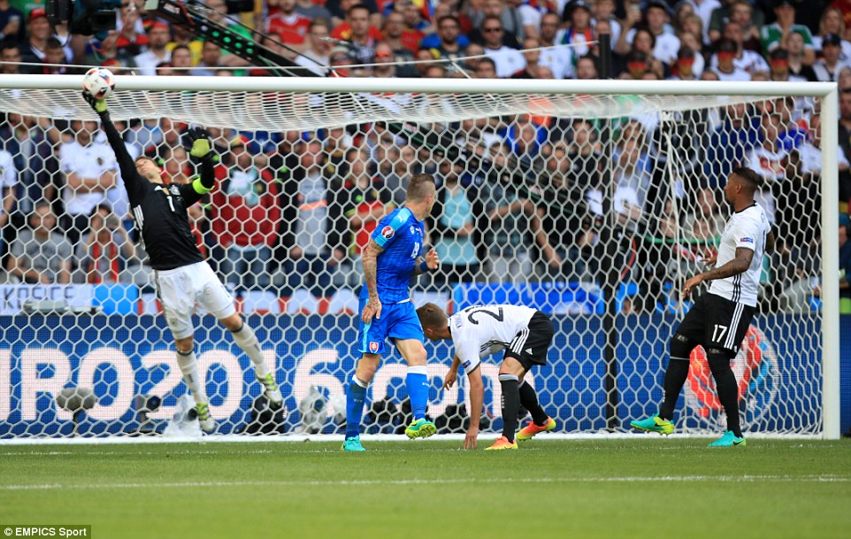 Neuer had to be alert to tip over Juraj Kuckas header with the score at 1-0 in the first half of the last 16 match in northern France