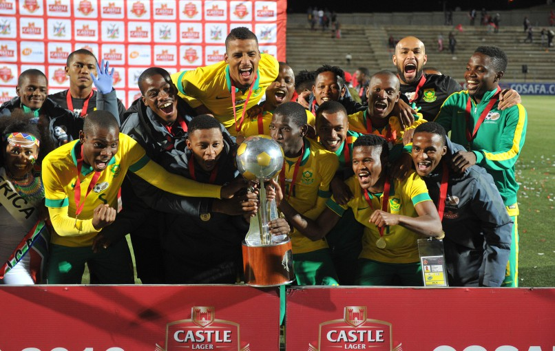 South African players celebrate victory during the 2016 Cosafa Cup Final