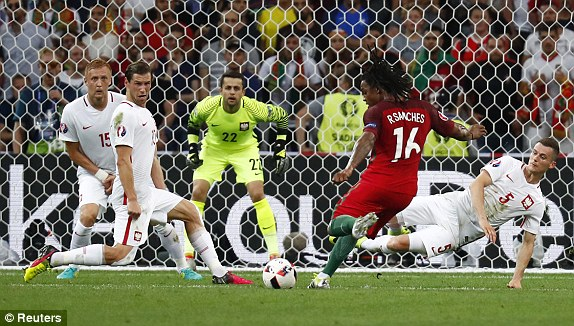 Renato Sanchess equaliser for Portugal took a deflection off a Poland defender