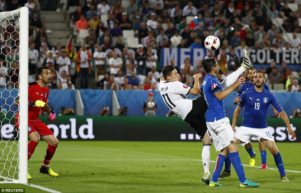 Draxler (centre) tries his luck at goal with an acrobatic effort during the second half of extra-time