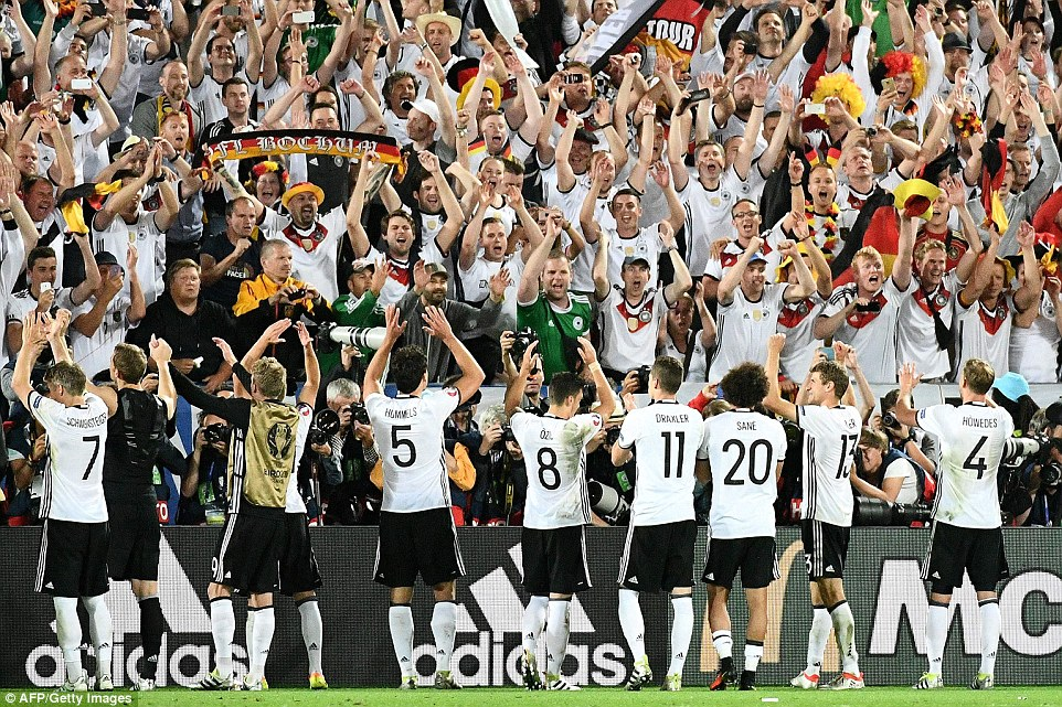 Germany players soon celebrated with their fans who had arrived in their thousands at the Nouveau Stade de Bordeaux