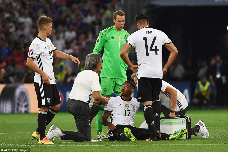 Boateng sustained a hamstring injury and had to be replaced in the second half