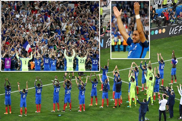 FRA celebrate reaching final by copying Iceland's thunderclap with fans in Marseille