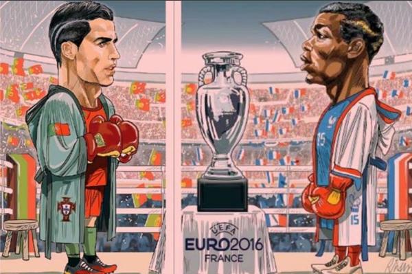 Great cartoon from La Gazzetta dello Sport ahead of Équipe de France de Football v Seleções de Portugal in the UEFA Euro-2016 final tonight