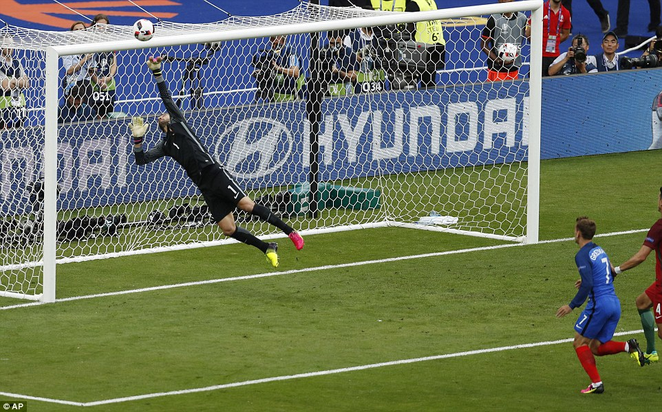 Griezmann thought he had given France the lead but for this Rui Patricio save