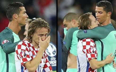 Cristiano Ronaldo consoles Real Madrid mate Luka Modric as Croatia