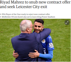 Riyad Mahrez to snub new contract offer and seek Leicester City exit