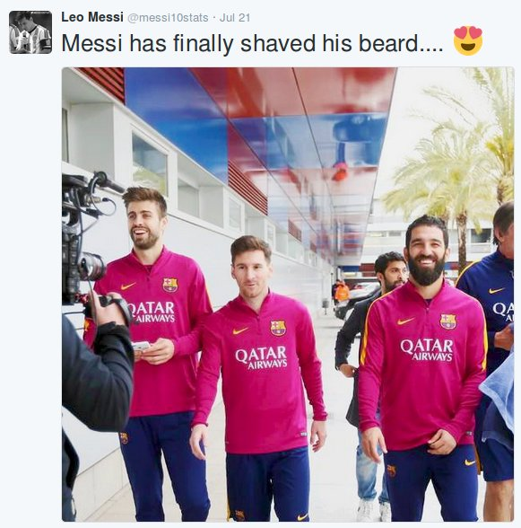 2 days ago messi shaved his beard