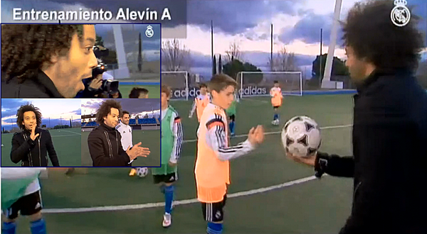 Real Madrids wonder kid Pipi shows off his football skills to Marcelo