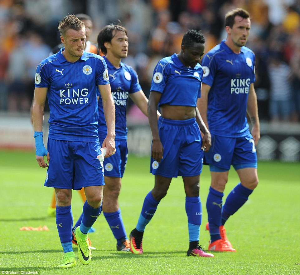 Vardy, Shinji Okazaki, Musa and Christian Fuchs look dejected after the final whistle