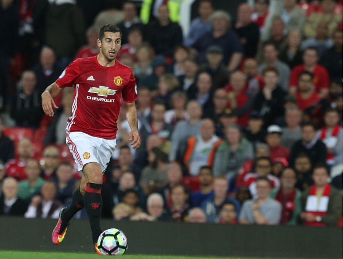 Henrikh Mkhitaryan in action tonight against Southampton
