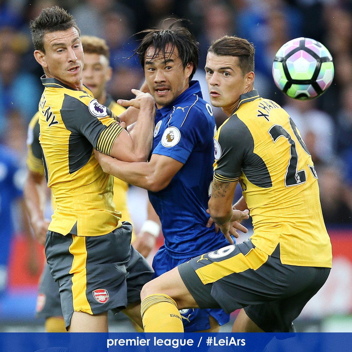 Shinji Okazaki is closely shackled by the @Arsenal defence Goalless after half an hour