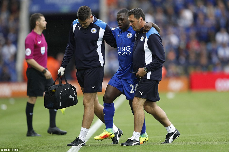Mendy went off injured for Leicester after landing awkwardly