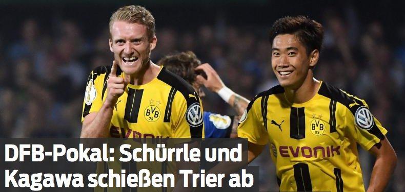 #Schürrle und #Kagawa schießen #Trier ab #DFBPokal