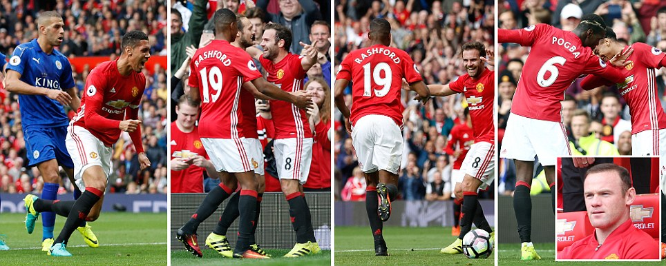 Manchester United 4 Leicester 1 Pogba, Rashford, Mata and Smalling strike as Mourinhos men run riot in front of axed Rooney